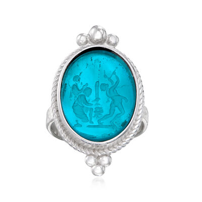 Italian Blue Venetian Glass and Mother-Of-Pearl Ring in Sterling Silver
