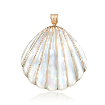 Mother-Of-Pearl Seashell Pendant with 4-4.5mm Cultured Pearls in 14kt Yellow Gold, , default