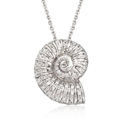 "Roberto Coin ""Tiny Treasures"" .18 ct. t.w. Diamond Seashell Necklace in 18kt White Gold, , default"