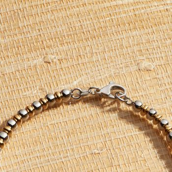 Italian Two-Tone Sterling Silver Graduated Bead and Rondelle Necklace
