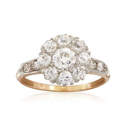 C. 1940 Vintage 1.40 ct. t.w. Diamond Cluster Ring in 14kt Yellow Gold. Size 6.25, , default