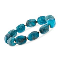 "Blue Apatite Bead Stretch Bracelet With 14kt Gold. 8"", , default"