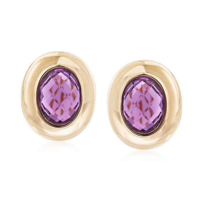 6.25 ct. t.w. Amethyst Earrings in 14kt Yellow Gold, , default