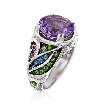 5.50 Carat Amethyst and .50 ct. t.w. Multi-Stone Ring in Sterling Silver, , default