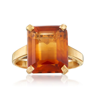 C. 1940 Vintage 4.60 Carat Citrine Ring in 14kt Yellow Gold, , default