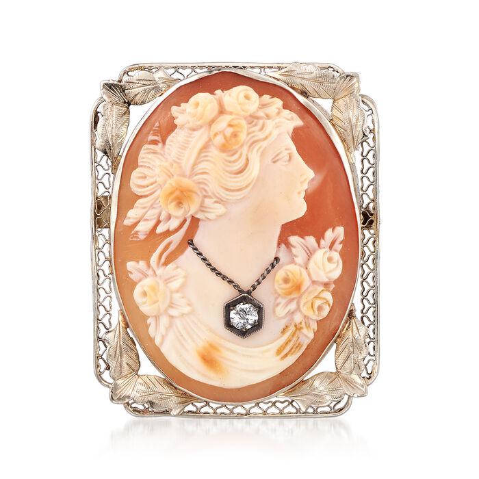 C. 1950 Vintage Oval Shell Cameo Pin Pendant in 14kt White Gold
