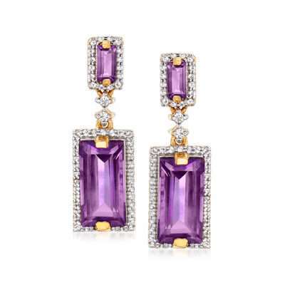 5.00 ct. t.w. Amethyst and .48 ct. t.w. White Topaz Drop Earrings in 18kt Gold Over Sterling, , default