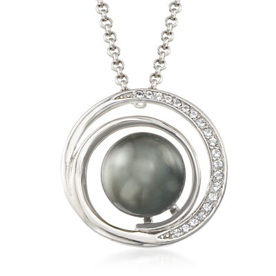 9-10mm Cultured Tahitian Pearl and .15 ct. t.w. White Topaz Pendant Necklace in Sterling Silver, , default