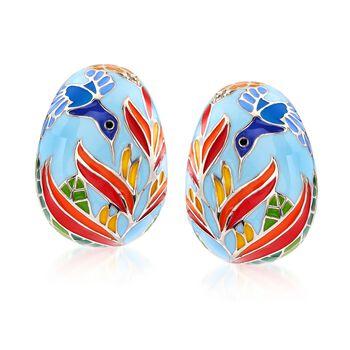 "Belle Etoile ""Hummingbird"" Multicolored Enamel Half-Hoop Earrings With CZ Accents in Sterling Silver. 3/4"", , default"