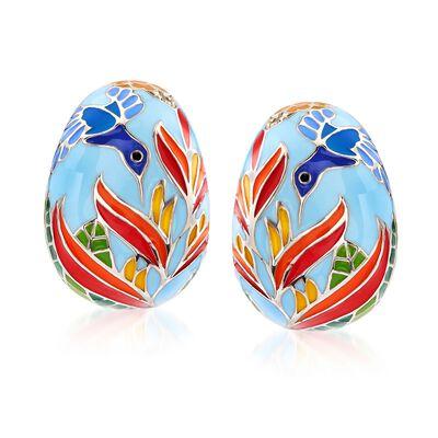"Belle Etoile ""Hummingbird"" Multicolored Enamel Half-Hoop Earrings With CZ Accents in Sterling Silver, , default"