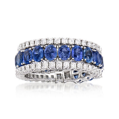 4.00 ct. t.w. Sapphire and 1.10 ct. t.w. Diamond Wrap Ring in 18kt White Gold