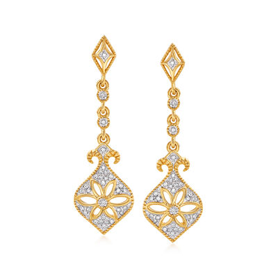 .15 ct. t.w. Diamond Floral Drop Earrings in 18kt Gold Over Sterling