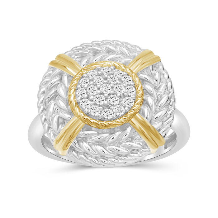 .25 ct. t.w. Diamond Cluster and Roped Frame Ring in Two-Tone Sterling, , default