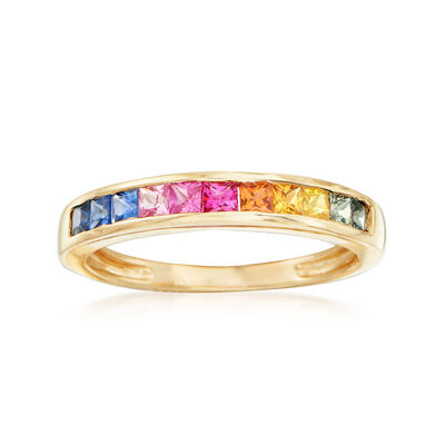 .95 ct. t.w. Multicolored Sapphire Ring in 14kt Yellow Gold, , default