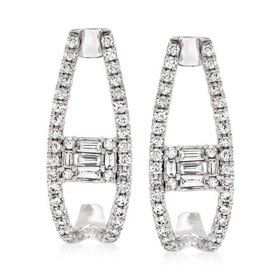 .98 ct. t.w. Round and Baguette Diamond J-Hoop Earrings in 14kt White Gold