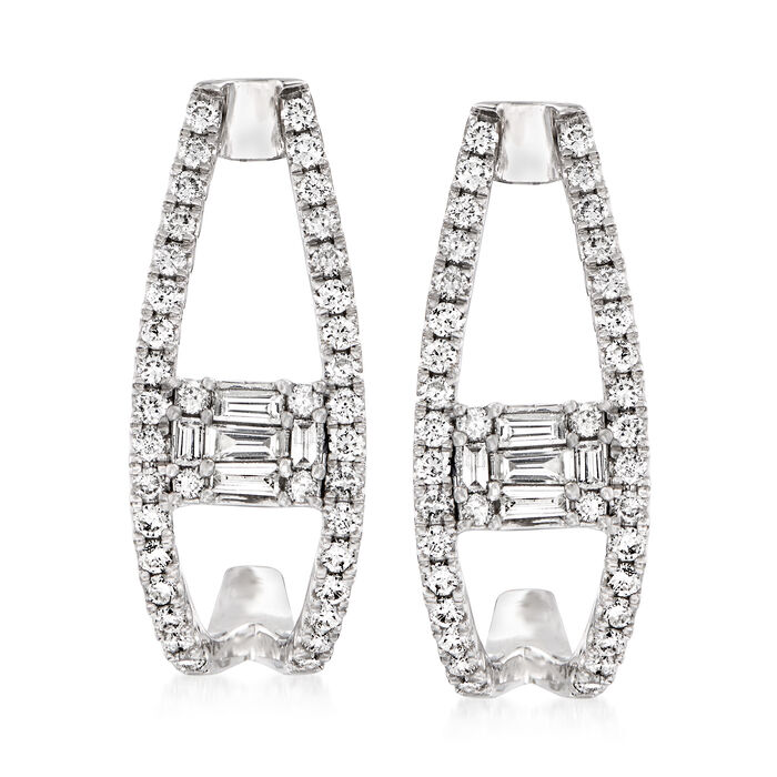 """.98 ct. t.w. Round and Baguette Diamond J-Hoop Earrings in 14kt White Gold. 7/8"""", , default"""