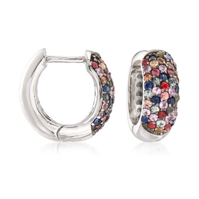1.50 ct. t.w. Multicolored Sapphire Huggie Hoop Earrings in Sterling Silver, , default