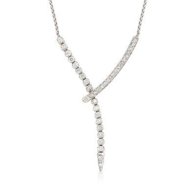 1.5 ct. t.w. Diamond Lariat Necklace in 14k White Gold, , default