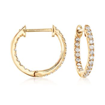 ".20 ct. t.w. Diamond Inside-Outside Huggie Hoop Earrings in 14kt Yellow Gold. 3/8"" , , default"