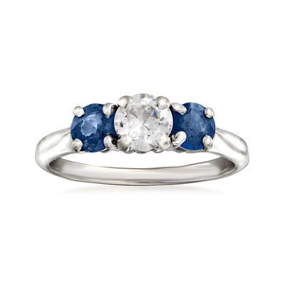 C. 1980 Vintage .40 Carat Diamond and .60 ct. t.w. Sapphire Three-Stone Ring in 14kt White Gold, , default