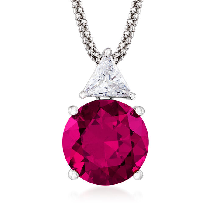 6.30 Carat Simulated Ruby and .75 Carat CZ Pendant Necklace in Sterling Silver. 18""