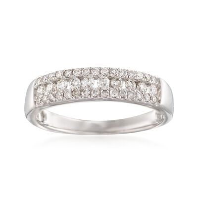 .35 ct. t.w. Diamond Three-Row Ring in 14kt White Gold, , default