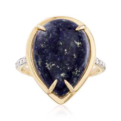 Lapis and Diamond Accent Ring in 14kt Yellow Gold, , default