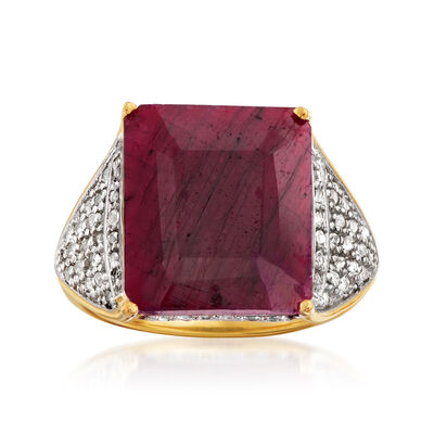9.60 Carat Ruby and .40 ct. t.w. White Topaz Ring in 18kt Gold Over Sterling