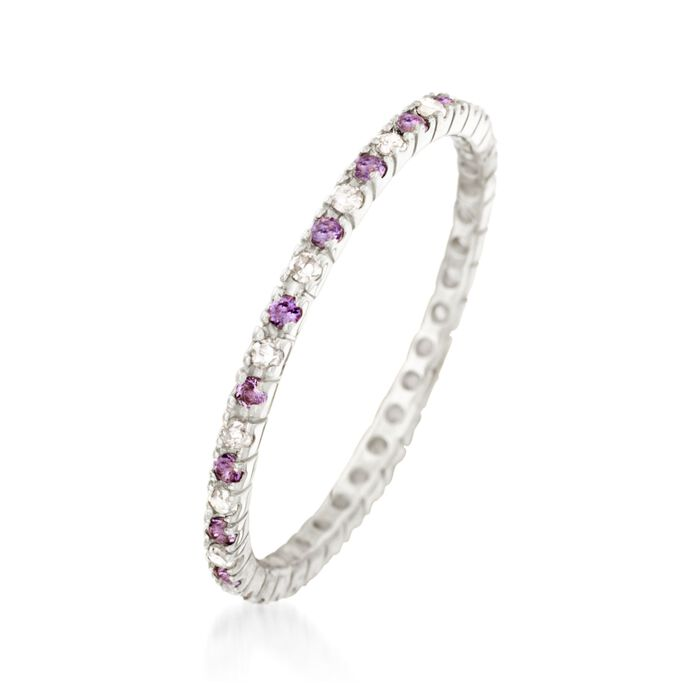 .13 ct. t.w. Amethyst and .14 ct. t.w. Diamond Eternity Band in 14kt White Gold