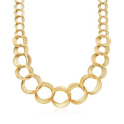 Italian 14kt Yellow Gold Graduated Multi-Circle Link Necklace, , default