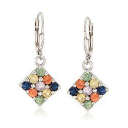 1.80 ct. t.w. Multicolored Sapphire Earrings in Sterling Silver , , default