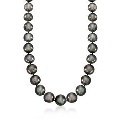 "12-16.5mm Black Cultured Tahitian Pearl Necklace With Diamond Accents and 14kt White Gold. 18"", , default"