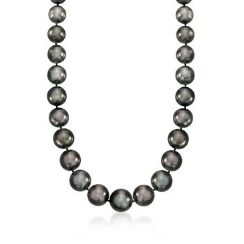 """12-16.5mm Black Cultured Tahitian Pearl Necklace With Diamond Accents and 14kt White Gold. 18"""", , default"""