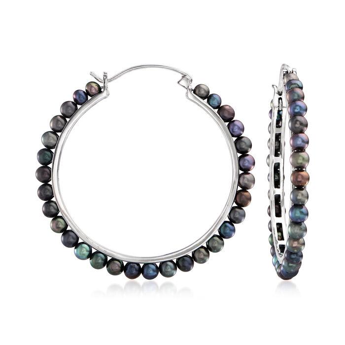 3.5-4mm Black Cultured Pearl Hoop Earrings in Sterling Silver