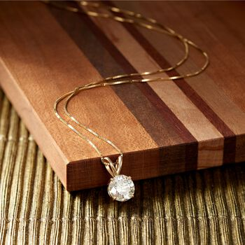 """1.50 Carat Diamond Solitaire Necklace in 14kt Yellow Gold. 18"""", , default"""
