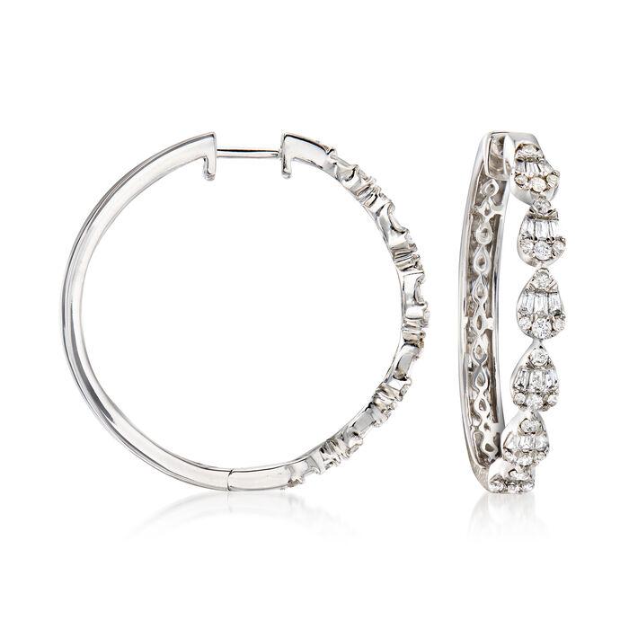 .60 ct. t.w. Diamond Cluster Hoop Earrings in 14kt White Gold