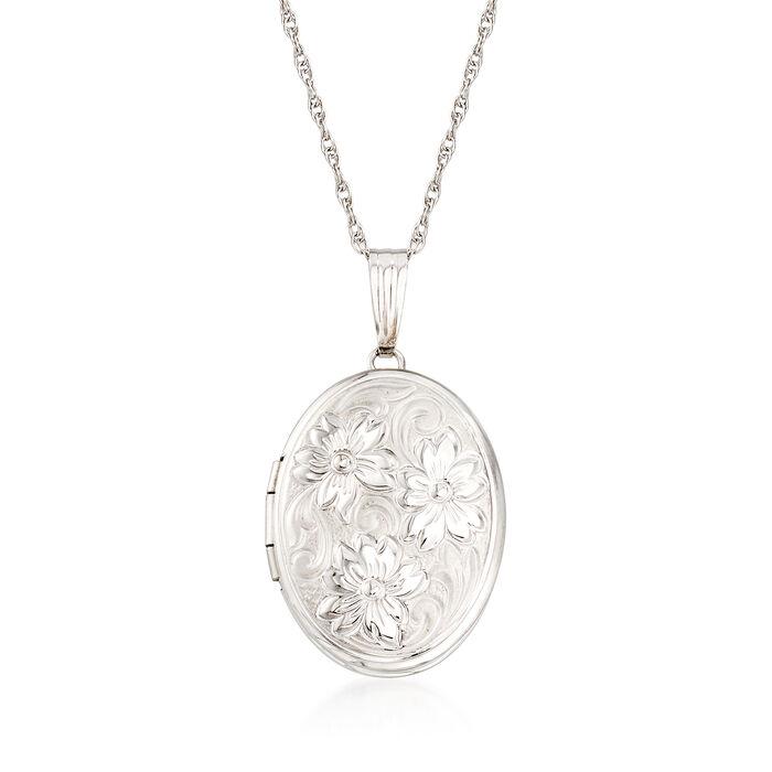 14kt White Gold Personalized Floral Locket Pendant Necklace, , default
