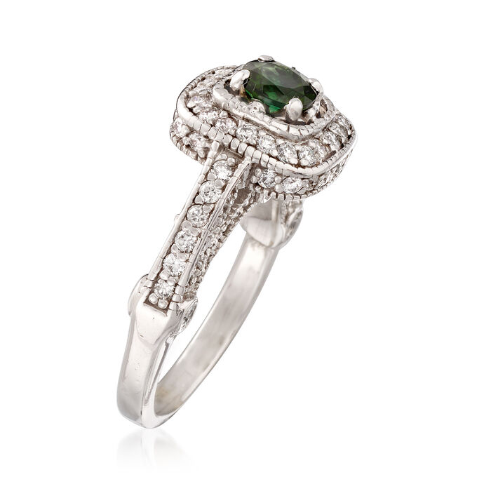 C. 2000 Vintage 1.30 ct. t.w. Diamond and .45 Carat Tourmaline Ring in 14kt White Gold