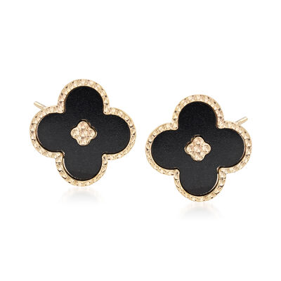 Italian Black Enamel Beaded Floral Earrings in 14kt Yellow Gold, , default
