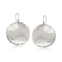 Sterling Silver Hammered Disc Earrings, , default