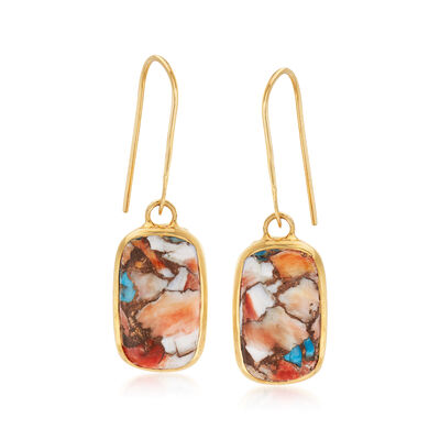 Mosaic Kingman Turquoise Drop Earrings in 18kt Gold Over Sterling
