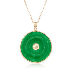 "Green Jade ""Good Luck"" Pendant Necklace in 14kt Yellow Gold. 18"", , default"