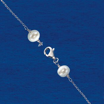 6-10mm Cultured Pearl Station Necklace in Sterling Silver, , default