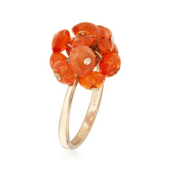 C. 2010 Vintage Orange Agate Freeform Ring in 10kt Yellow Gold. Size 5, , default