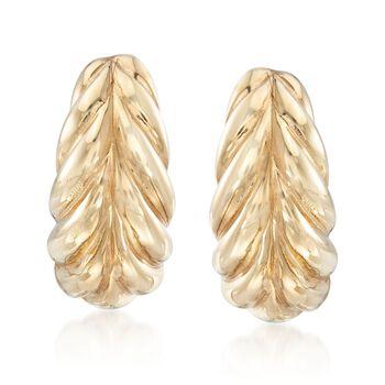 "Italian 14kt Yellow Gold Ribbed Half-Hoop Earrings. 3/4"", , default"