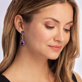 24.50 ct. t.w. Amethyst Drop Earrings in 18kt Gold Over Sterling , , default