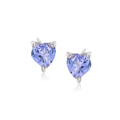 .90 ct. t.w. Tanzanite Heart Stud Earrings in Sterling Silver, , default