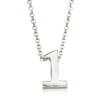 """Sterling Silver Number 1 Pendant Necklace. 18"""", , default"""
