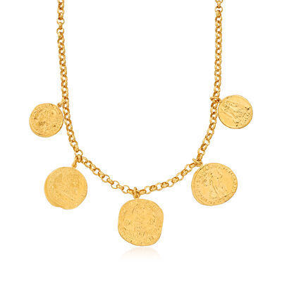 Italian Replica Ancient Coin Necklace in 18kt Gold Over Sterling, , default