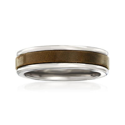Men's 6mm Tungsten Carbide and Wood Center Wedding Ring, , default